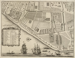 Plan of the Dutch factory at Hooghly-Chinsura in 1721. Engraving